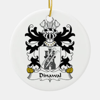 Escudo de la familia de Dinawal Adorno Navideño Redondo De Cerámica