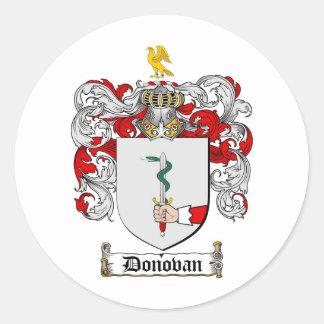 ESCUDO DE LA FAMILIA DE DONOVAN - ESCUDO DE ARMAS PEGATINA REDONDA