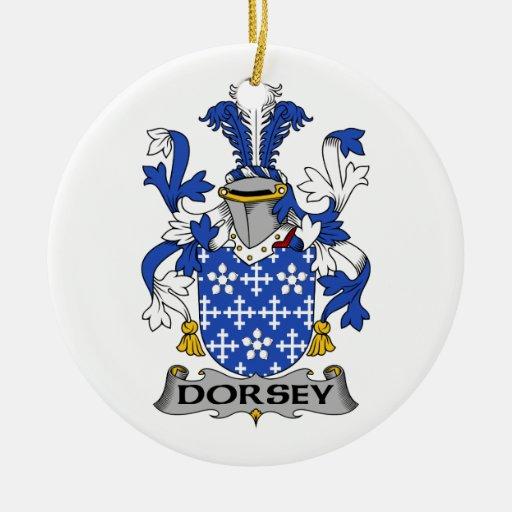 Escudo de la familia de Dorsey Adorno Navideño Redondo De Cerámica