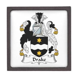 Escudo de la familia de Drake Caja De Recuerdo De Calidad