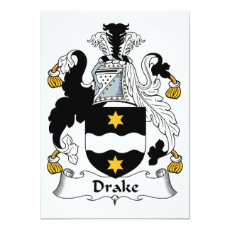 """Escudo de la familia de Drake Invitación 5"""" X 7"""""""