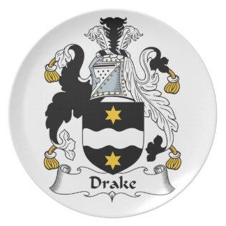 Escudo de la familia de Drake Plato Para Fiesta