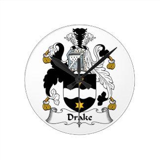 Escudo de la familia de Drake Reloj Redondo Mediano