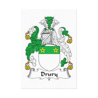 Escudo de la familia de Drury Impresión En Lienzo Estirada