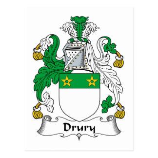 Escudo de la familia de Drury Tarjeta Postal