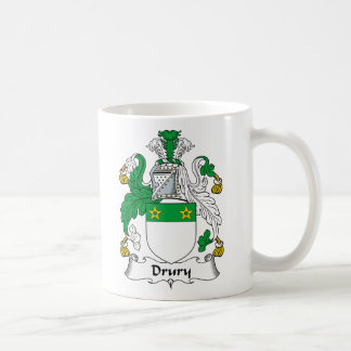 Escudo de la familia de Drury Taza Básica Blanca