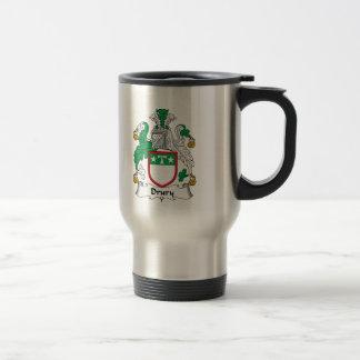 Escudo de la familia de Drury Tazas De Café