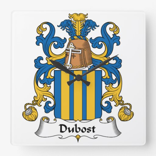 Escudo de la familia de Dubost Reloj Cuadrado