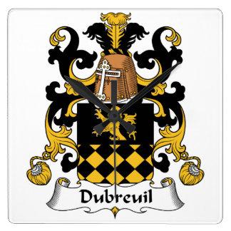 Escudo de la familia de Dubreuil Reloj De Pared
