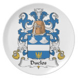 Escudo de la familia de Duclos Platos De Comidas