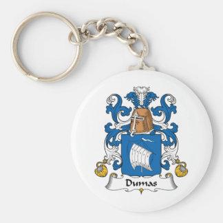 Escudo de la familia de Dumas Llavero Redondo Tipo Pin