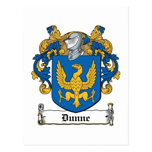 Escudo de la familia de Dunne Tarjeta Postal