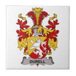 Escudo de la familia de Durell Azulejo Ceramica