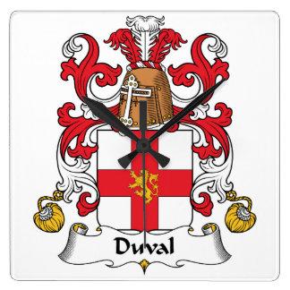 Escudo de la familia de Duval Reloj Cuadrado