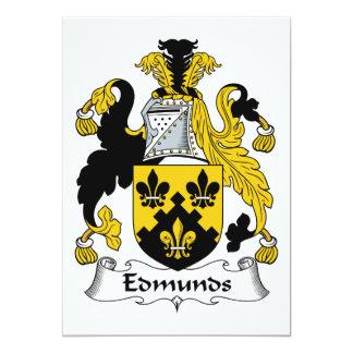 Escudo de la familia de Edmunds Invitación 12,7 X 17,8 Cm