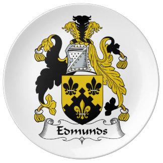 Escudo de la familia de Edmunds Platos De Cerámica