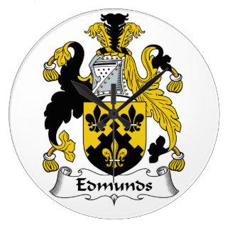 Escudo de la familia de Edmunds Reloj Redondo Grande