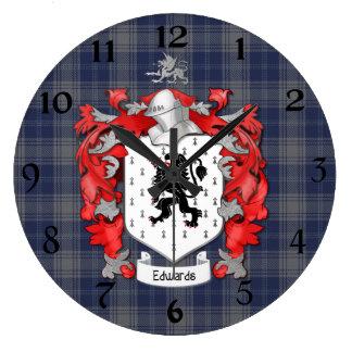 Escudo de la familia de Edwards - País de Gales Reloj De Pared