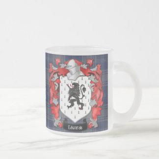 Escudo de la familia de Edwards - País de Gales Taza Cristal Mate