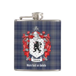 Escudo de la familia de Edwards y tela escocesa de Petaca
