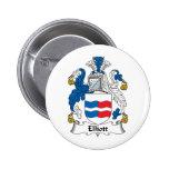 Escudo de la familia de Elliott Pin Redondo De 2 Pulgadas