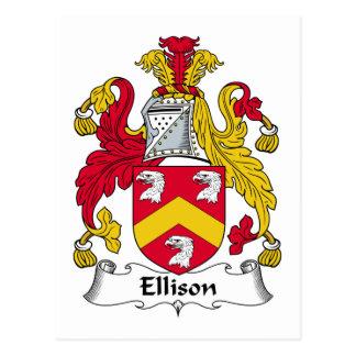 Escudo de la familia de Ellison Tarjeta Postal