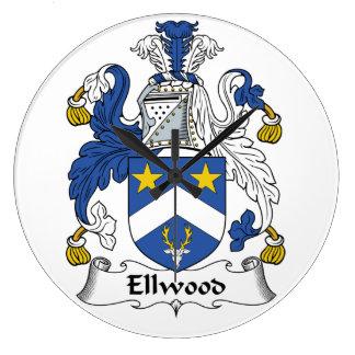 Escudo de la familia de Ellwood Relojes De Pared