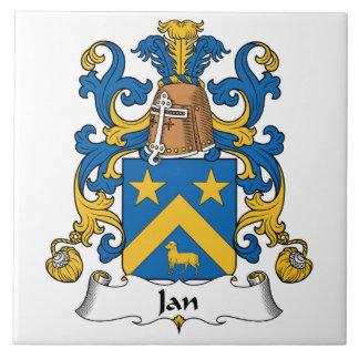 Escudo de la familia de enero azulejo cuadrado grande