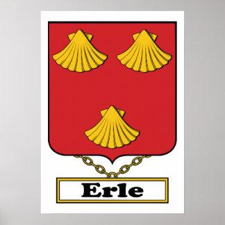 Escudo de la familia de Erle Póster