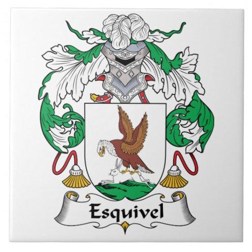 Escudo de la familia de Esquivel Azulejo Cuadrado Grande