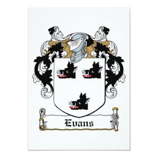 Escudo de la familia de Evans Invitación 12,7 X 17,8 Cm