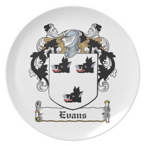 Escudo de la familia de Evans Plato De Comida