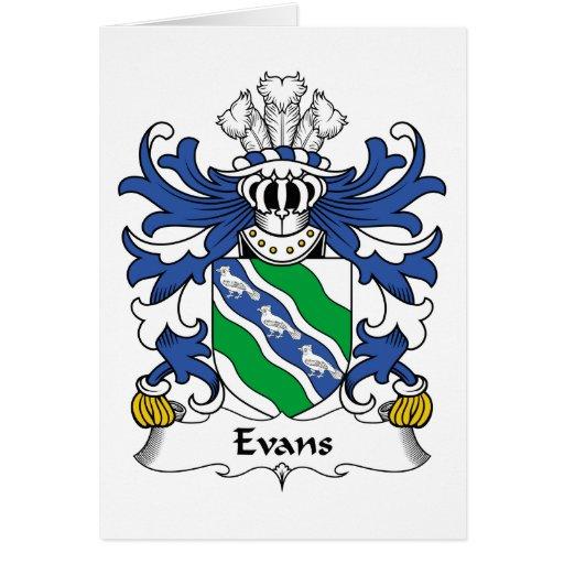 Escudo de la familia de Evans Tarjeta De Felicitación