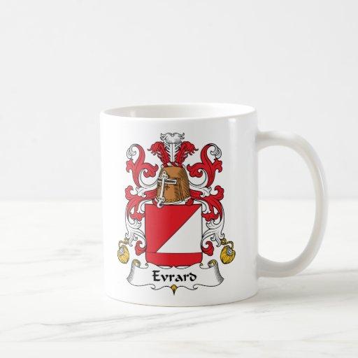 Escudo de la familia de Evrard Taza Básica Blanca