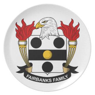 Escudo de la familia de Fairbanks Plato Para Fiesta