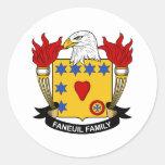 Escudo de la familia de Faneuil Pegatina Redonda