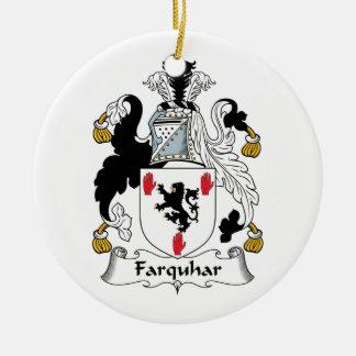 Escudo de la familia de Farquhar Adorno Navideño Redondo De Cerámica