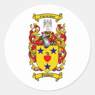 ESCUDO DE LA FAMILIA DE FAULKNER - ESCUDO DE ARMAS PEGATINA REDONDA