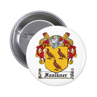 Escudo de la familia de Faulkner Pin Redondo De 2 Pulgadas
