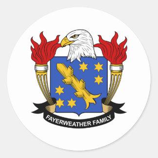 Escudo de la familia de Fayerweather Pegatina Redonda
