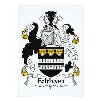 """Escudo de la familia de Feltham Invitación 5"""" X 7"""""""