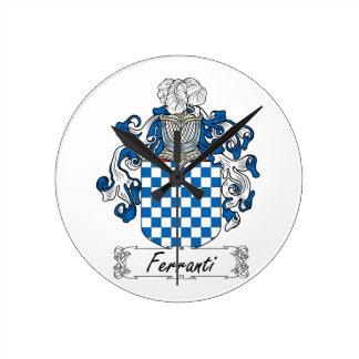 Escudo de la familia de Ferranti Reloj De Pared