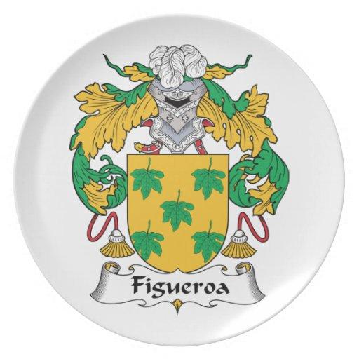 Escudo de la familia de Figueroa Platos Para Fiestas