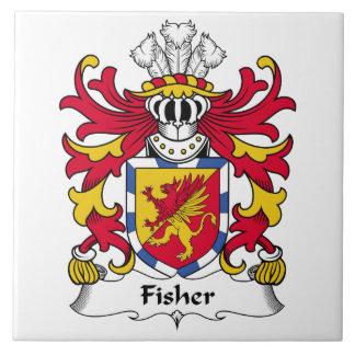Escudo de la familia de Fisher Azulejo Cuadrado Grande