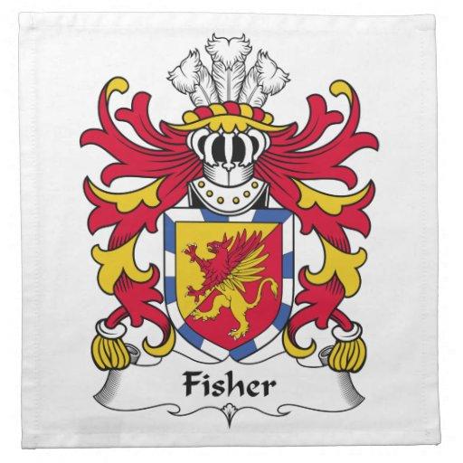 Escudo de la familia de Fisher Servilleta