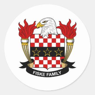 Escudo de la familia de Fiske Pegatina Redonda