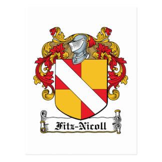 Escudo de la familia de Fitz-Nicoll Postal