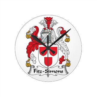 Escudo de la familia de Fitz-Simons Reloj De Pared