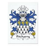 Escudo de la familia de Fitzharry Invitación 12,7 X 17,8 Cm