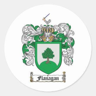 ESCUDO DE LA FAMILIA DE FLANAGAN - ESCUDO DE ARMAS PEGATINA REDONDA
